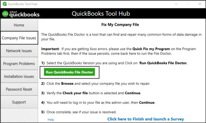 Download QUickbooks File Doctor Tool