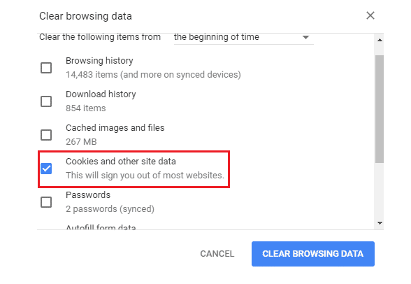 Clear Out The Search History And Cookies