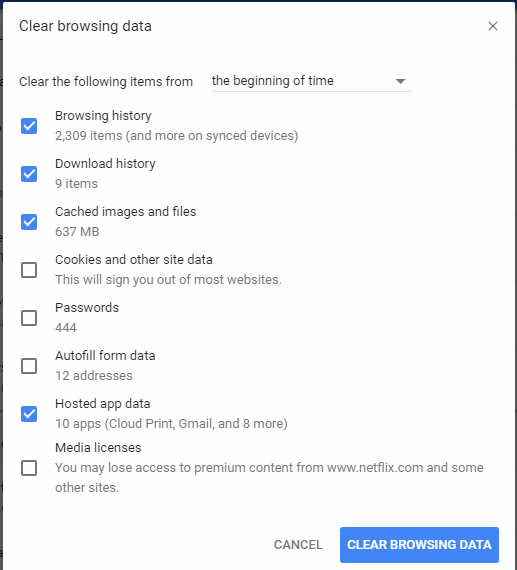 Clear Out The Cache Files in Google Chrome