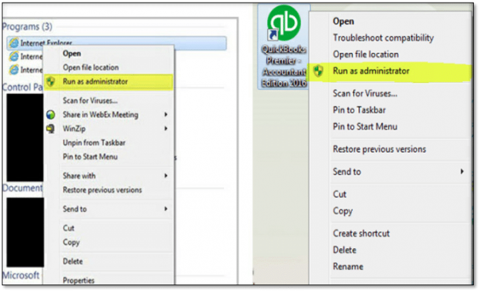 Run QuickBooks Software as an Admin to fix QuickBooks Error The File Exists
