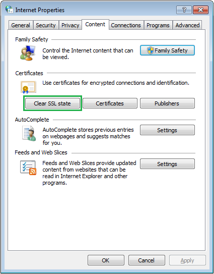 """Clear SSL State"""" inside the """"Content"""" option."""